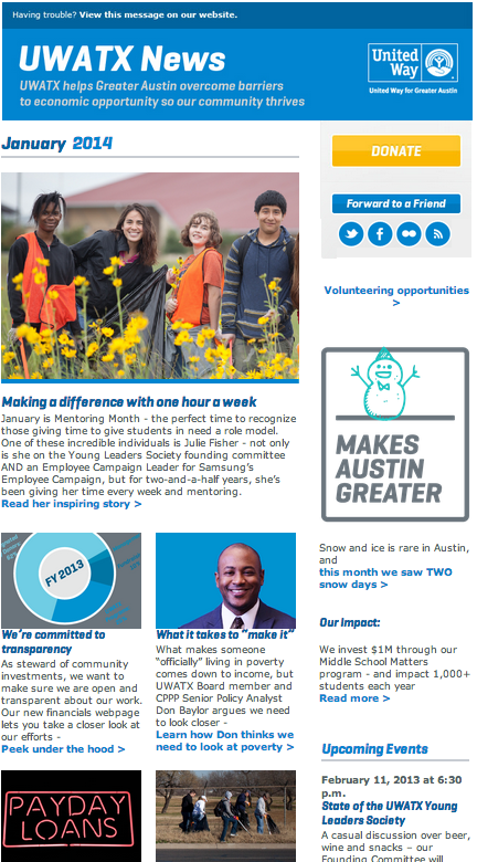 United Way for Greater Austin newsletter - January 2014