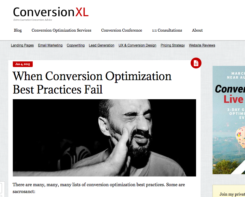 Conversion Optimization Best Practices FAIL
